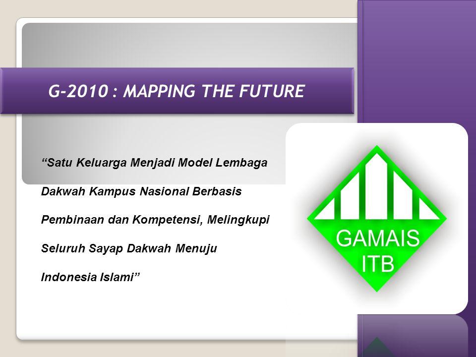 "G-2010 : MAPPING THE FUTURE ""Satu Keluarga Menjadi Model Lembaga Dakwah Kampus Nasional Berbasis Pembinaan dan Kompetensi, Melingkupi Seluruh Sayap Da"