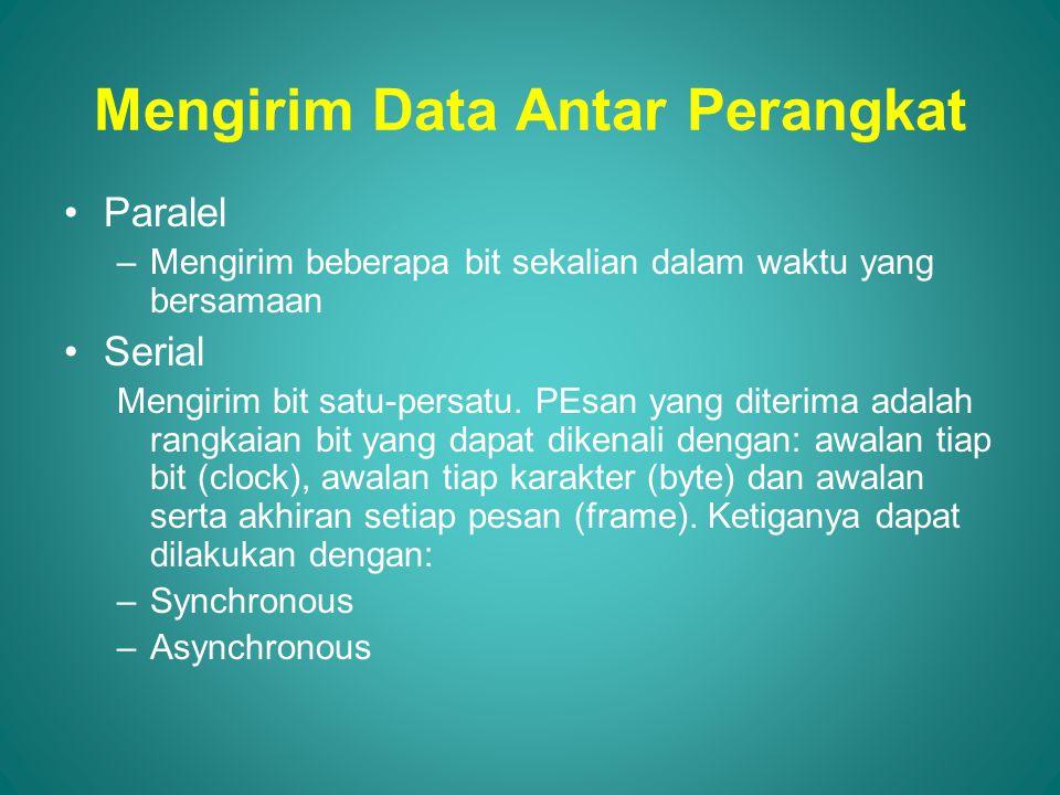 Mengirim Data Antar Perangkat Paralel –Mengirim beberapa bit sekalian dalam waktu yang bersamaan Serial Mengirim bit satu-persatu.