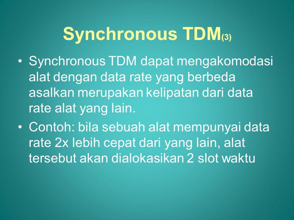 Synchronous TDM dapat mengakomodasi alat dengan data rate yang berbeda asalkan merupakan kelipatan dari data rate alat yang lain.