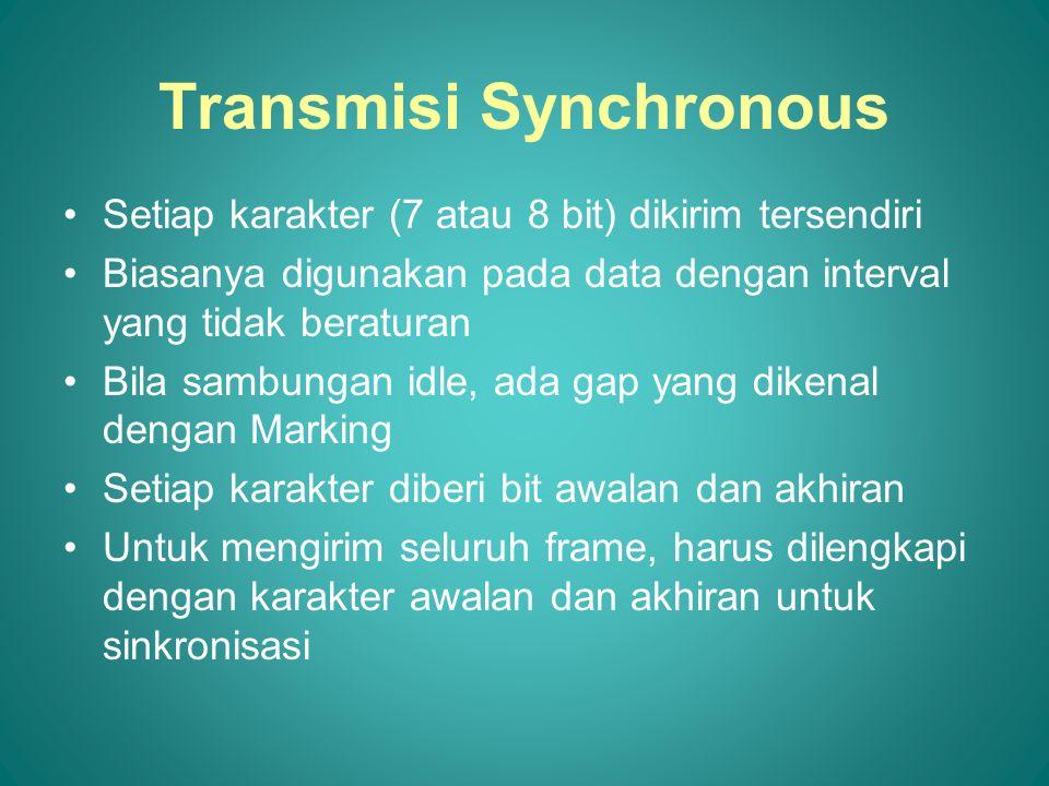 Transmisi Synchronous Setiap karakter (7 atau 8 bit) dikirim tersendiri Biasanya digunakan pada data dengan interval yang tidak beraturan Bila sambungan idle, ada gap yang dikenal dengan Marking Setiap karakter diberi bit awalan dan akhiran Untuk mengirim seluruh frame, harus dilengkapi dengan karakter awalan dan akhiran untuk sinkronisasi
