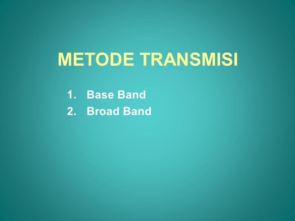 BASE BAND Pada metode ini dibutuhkan peralatan multiplexing yang disebut Time Division Multiplexing (TDM), gunanya: –Menghemat biaya penggunaan saluran komunikasi –Kapasitas saluran komunikasi dapat dimanfaatkan semaksimal mungkin –Ada kemungkinan dari beberapa terminal dilakukan transmisi data menuju ke satu titik yang sama