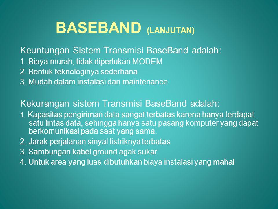 BROAD BAND Metode ini digunakan untuk menstransmisikan sinyal analog, sehingga butuh MODEM Data dari beberapa terminal dapat menggunakan satu saluran, tetapi frekuensinya berbeda-beda, sehingga pada saat bersamaan dapat dikirimkan beberapa jenis data melalui beberapa frekuensi