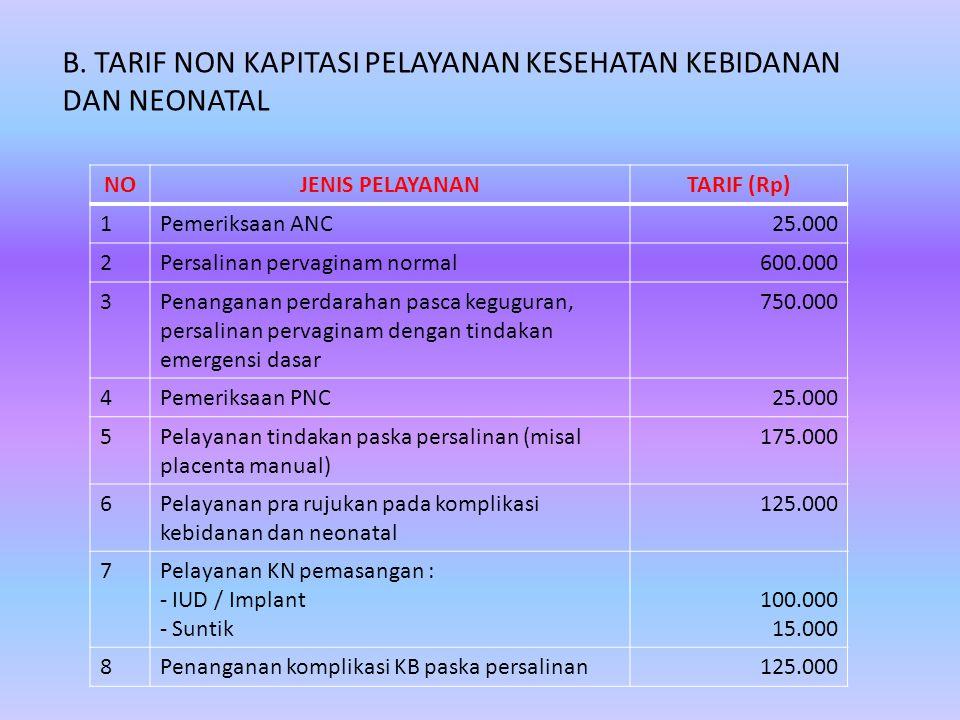 B. TARIF NON KAPITASI PELAYANAN KESEHATAN KEBIDANAN DAN NEONATAL NOJENIS PELAYANANTARIF (Rp) 1Pemeriksaan ANC25.000 2Persalinan pervaginam normal600.0