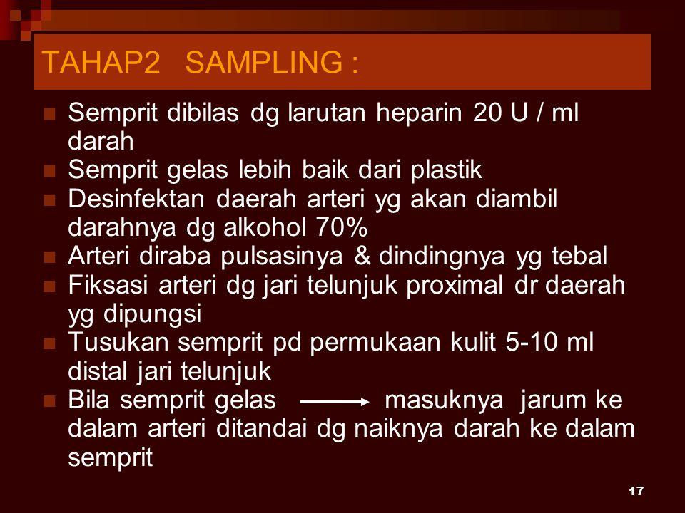 17 Semprit dibilas dg larutan heparin 20 U / ml darah Semprit gelas lebih baik dari plastik Desinfektan daerah arteri yg akan diambil darahnya dg alko