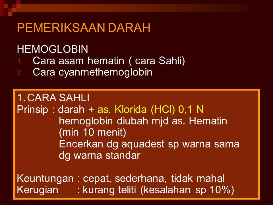 20 PEMERIKSAAN DARAH HEMOGLOBIN 1. Cara asam hematin ( cara Sahli) 2. Cara cyanmethemoglobin 1.CARA SAHLI Prinsip : darah + as. Klorida (HCl) 0,1 N he