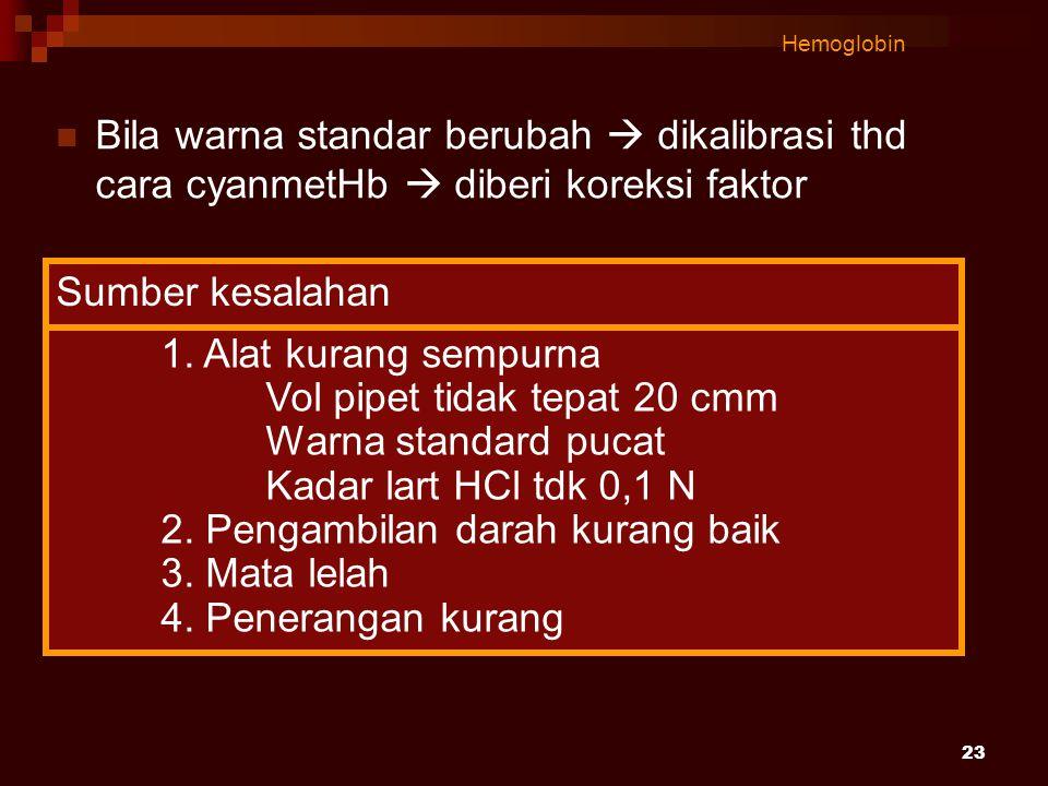 23 Hemoglobin Bila warna standar berubah  dikalibrasi thd cara cyanmetHb  diberi koreksi faktor 1. Alat kurang sempurna Vol pipet tidak tepat 20 cmm