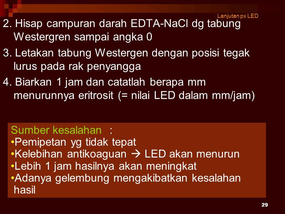 29 Lanjutan px LED 2. Hisap campuran darah EDTA-NaCl dg tabung Westergren sampai angka 0 3. Letakan tabung Westergen dengan posisi tegak lurus pada ra