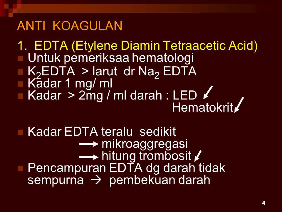 4 ANTI KOAGULAN 1. EDTA (Etylene Diamin Tetraacetic Acid) Untuk pemeriksaa hematologi K 2 EDTA > larut dr Na 2 EDTA Kadar 1 mg/ ml Kadar > 2mg / ml da