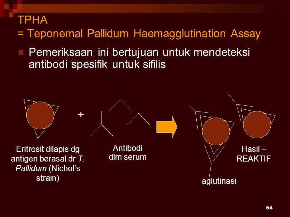 54 TPHA = Teponemal Pallidum Haemagglutination Assay Pemeriksaan ini bertujuan untuk mendeteksi antibodi spesifik untuk sifilis Antibodi dlm serum + a