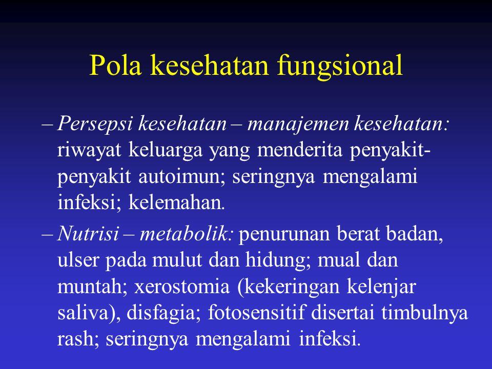 Pola kesehatan fungsional –Persepsi kesehatan – manajemen kesehatan: riwayat keluarga yang menderita penyakit- penyakit autoimun; seringnya mengalami