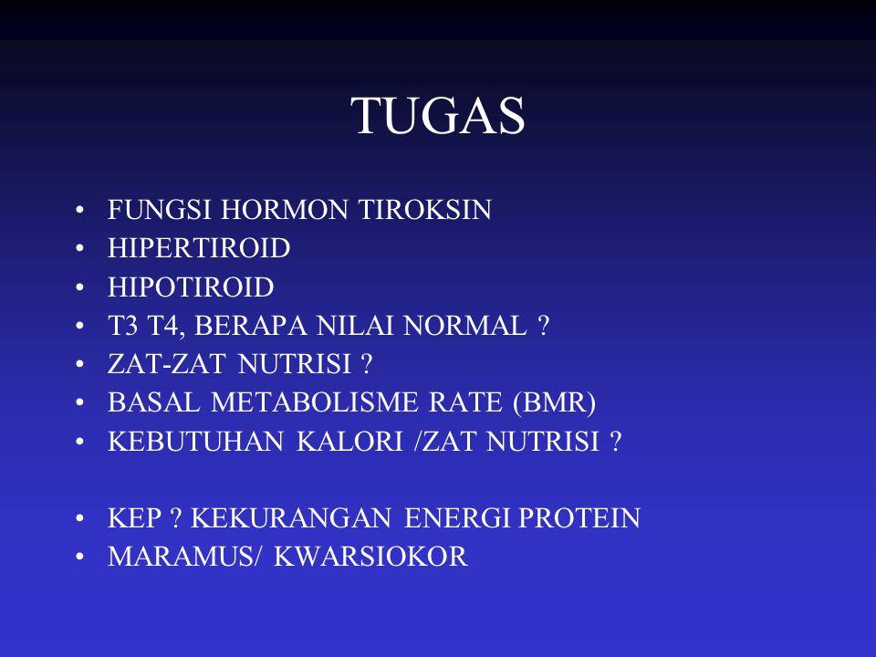 TUGAS FUNGSI HORMON TIROKSIN HIPERTIROID HIPOTIROID T3 T4, BERAPA NILAI NORMAL ? ZAT-ZAT NUTRISI ? BASAL METABOLISME RATE (BMR) KEBUTUHAN KALORI /ZAT