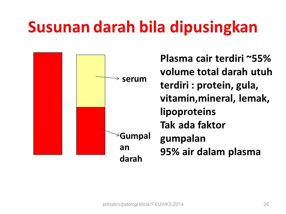 Susunan darah bila dipusingkan prihatini/patologi klinik/FKUWKS/201426 Plasma cair terdiri ~55% volume total darah utuh terdiri : protein, gula, vitamin,mineral, lemak, lipoproteins Tak ada faktor gumpalan 95% air dalam plasma serum Gumpal an darah