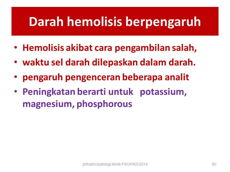 Darah hemolisis berpengaruh Hemolisis akibat cara pengambilan salah, waktu sel darah dilepaskan dalam darah.