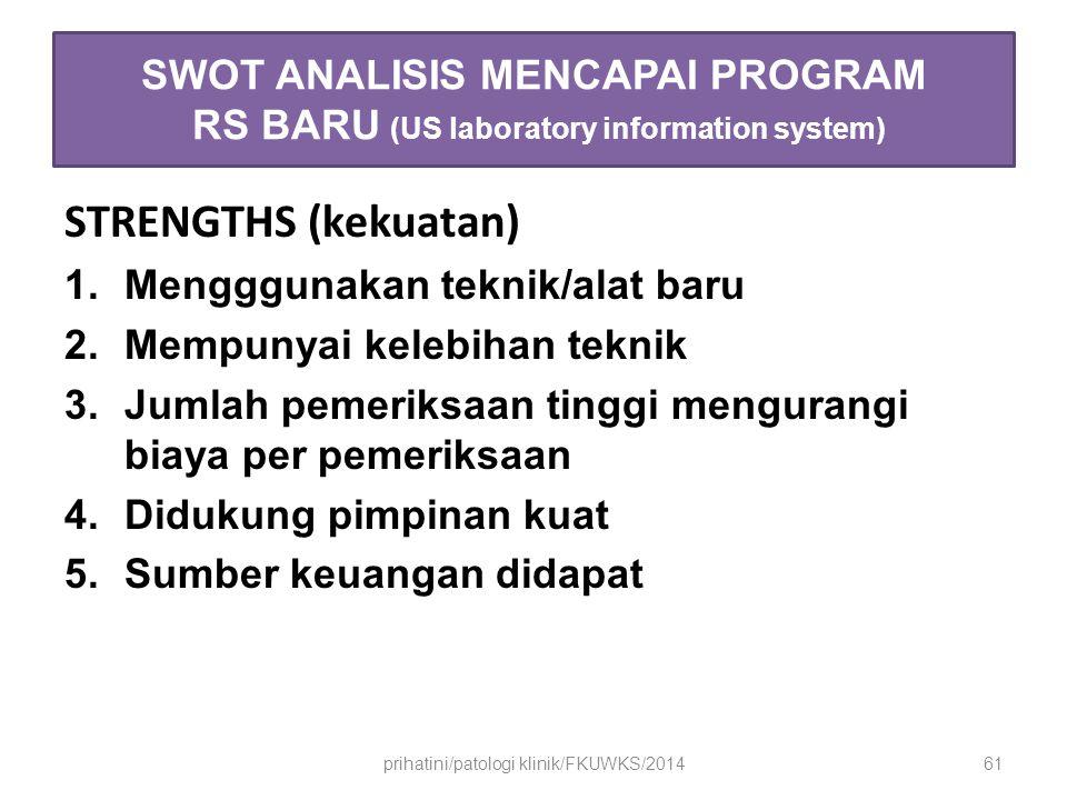 SWOT ANALISIS MENCAPAI PROGRAM RS BARU (US laboratory information system) STRENGTHS (kekuatan) 1.Mengggunakan teknik/alat baru 2.Mempunyai kelebihan teknik 3.Jumlah pemeriksaan tinggi mengurangi biaya per pemeriksaan 4.Didukung pimpinan kuat 5.Sumber keuangan didapat prihatini/patologi klinik/FKUWKS/201461