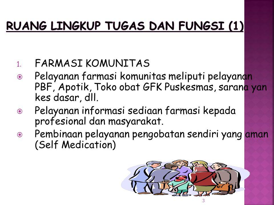 1. FARMASI KOMUNITAS  Pelayanan farmasi komunitas meliputi pelayanan PBF, Apotik, Toko obat GFK Puskesmas, sarana yan kes dasar, dll.  Pelayanan inf