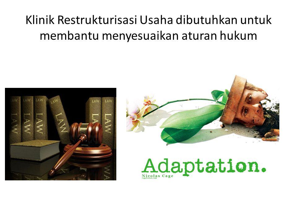 Klinik Restrukturisasi Usaha dibutuhkan untuk membantu menyesuaikan aturan hukum
