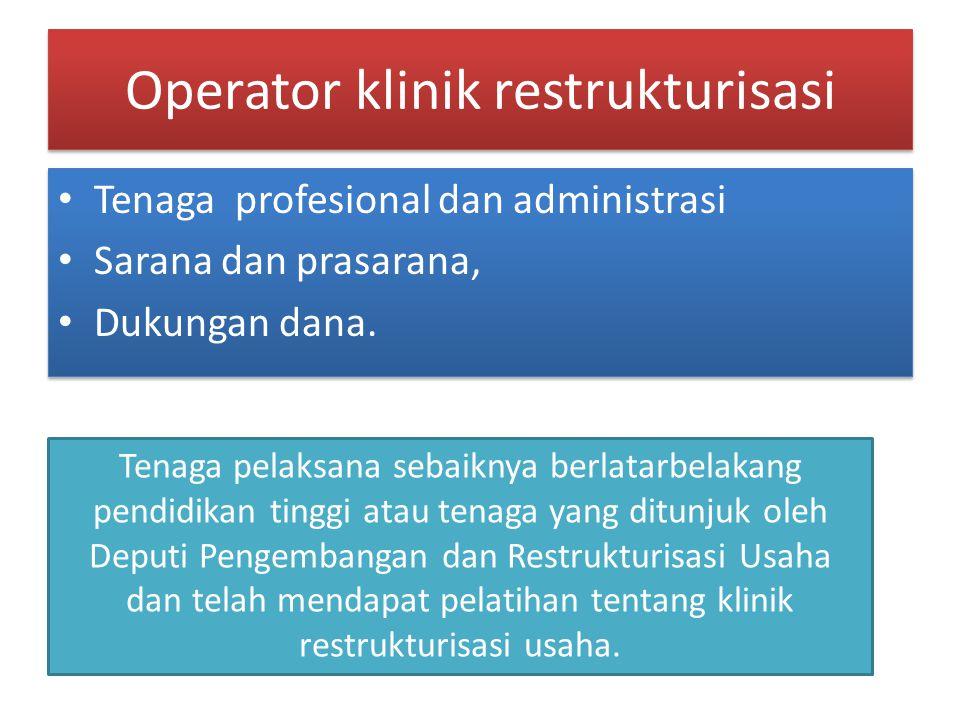 Operator klinik restrukturisasi Tenaga profesional dan administrasi Sarana dan prasarana, Dukungan dana. Tenaga profesional dan administrasi Sarana da