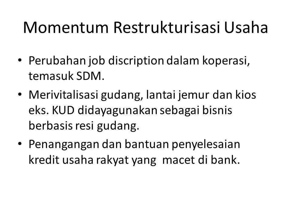 Momentum Restrukturisasi Usaha Perubahan job discription dalam koperasi, temasuk SDM. Merivitalisasi gudang, lantai jemur dan kios eks. KUD didayaguna