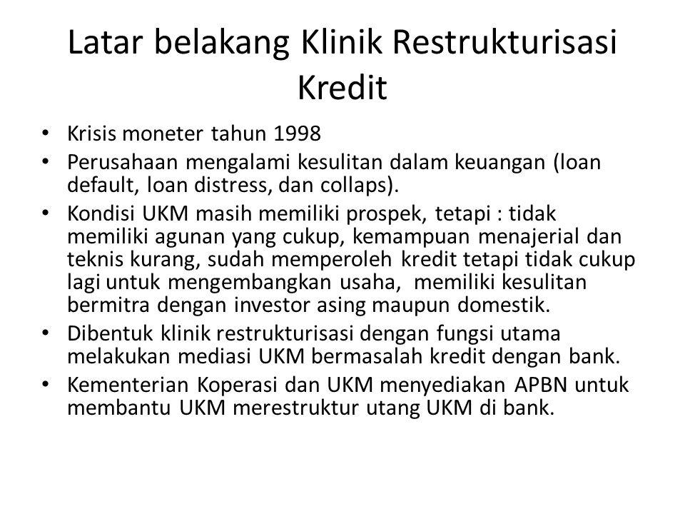 Latar belakang Klinik Restrukturisasi Kredit Krisis moneter tahun 1998 Perusahaan mengalami kesulitan dalam keuangan (loan default, loan distress, dan