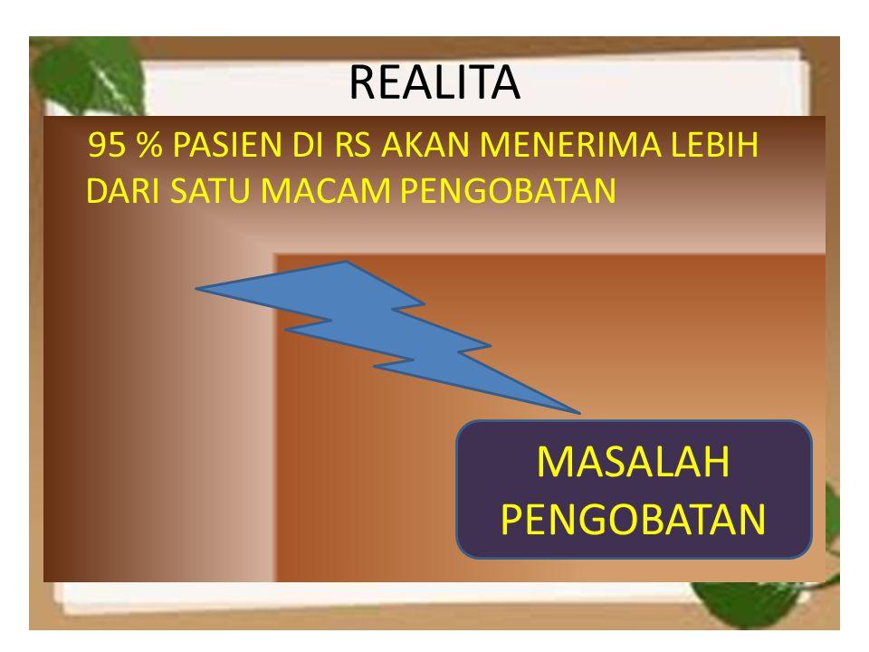 REALITA 95 % PASIEN DI RS AKAN MENERIMA LEBIH DARI SATU MACAM PENGOBATAN MASALAH PENGOBATAN