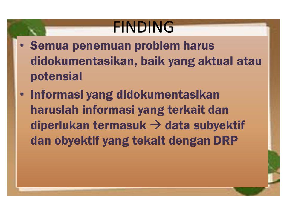 FINDING Semua penemuan problem harus didokumentasikan, baik yang aktual atau potensial Informasi yang didokumentasikan haruslah informasi yang terkait