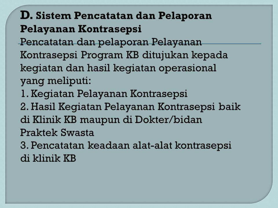 D. Sistem Pencatatan dan Pelaporan Pelayanan Kontrasepsi Pencatatan dan pelaporan Pelayanan Kontrasepsi Program KB ditujukan kepada kegiatan dan hasil