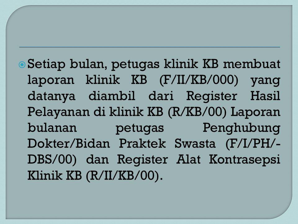  Setiap bulan, petugas klinik KB membuat laporan klinik KB (F/II/KB/000) yang datanya diambil dari Register Hasil Pelayanan di klinik KB (R/KB/00) La