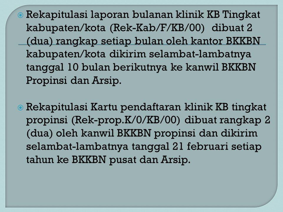  Rekapitulasi laporan bulanan klinik KB Tingkat kabupaten/kota (Rek-Kab/F/KB/00) dibuat 2 (dua) rangkap setiap bulan oleh kantor BKKBN kabupaten/kota