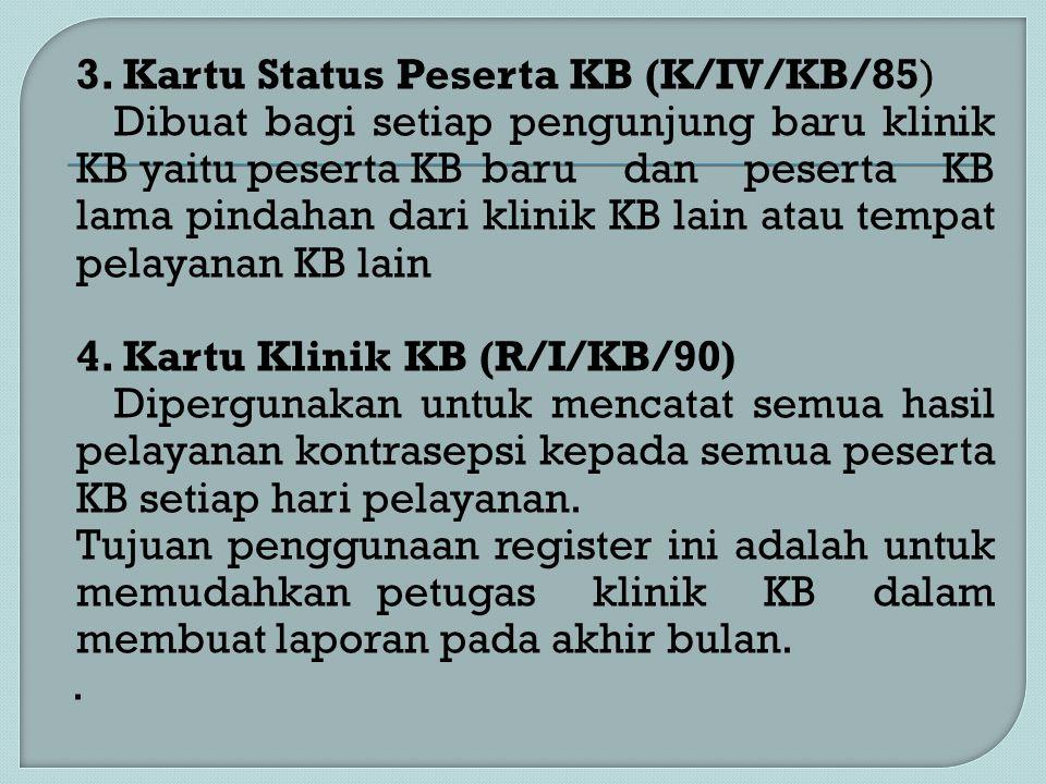 3. Kartu Status Peserta KB (K/IV/KB/85) Dibuat bagi setiap pengunjung baru klinik KB yaitu peserta KB baru dan peserta KB lama pindahan dari klinik KB