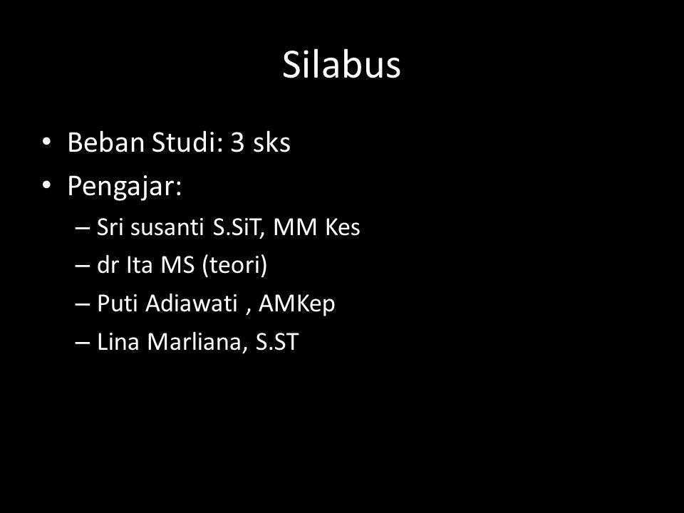 Silabus Beban Studi: 3 sks Pengajar: – Sri susanti S.SiT, MM Kes – dr Ita MS (teori) – Puti Adiawati, AMKep – Lina Marliana, S.ST