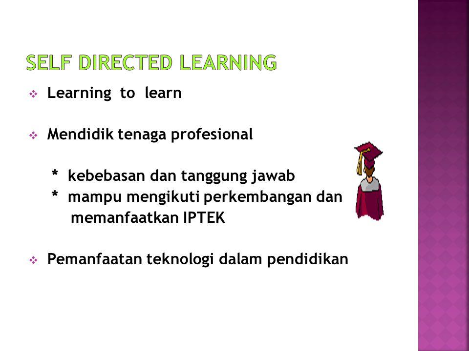  Learning to learn  Mendidik tenaga profesional * kebebasan dan tanggung jawab * mampu mengikuti perkembangan dan memanfaatkan IPTEK  Pemanfaatan t