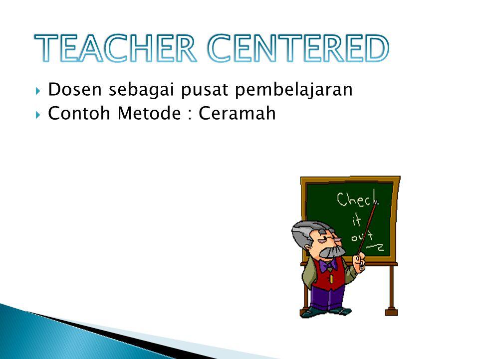  Dosen sebagai pusat pembelajaran  Contoh Metode : Ceramah