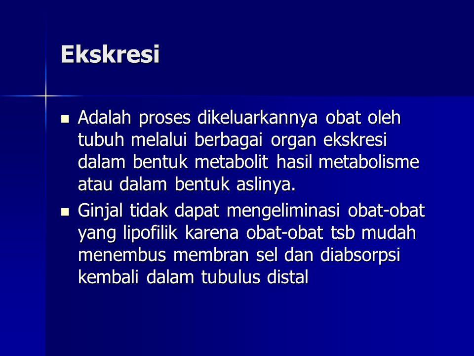 Ekskresi Adalah proses dikeluarkannya obat oleh tubuh melalui berbagai organ ekskresi dalam bentuk metabolit hasil metabolisme atau dalam bentuk aslinya.