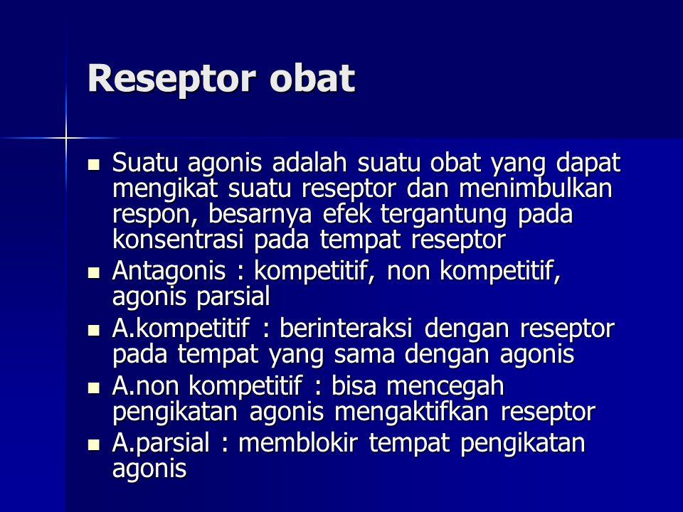 Reseptor obat Suatu agonis adalah suatu obat yang dapat mengikat suatu reseptor dan menimbulkan respon, besarnya efek tergantung pada konsentrasi pada tempat reseptor Suatu agonis adalah suatu obat yang dapat mengikat suatu reseptor dan menimbulkan respon, besarnya efek tergantung pada konsentrasi pada tempat reseptor Antagonis : kompetitif, non kompetitif, agonis parsial Antagonis : kompetitif, non kompetitif, agonis parsial A.kompetitif : berinteraksi dengan reseptor pada tempat yang sama dengan agonis A.kompetitif : berinteraksi dengan reseptor pada tempat yang sama dengan agonis A.non kompetitif : bisa mencegah pengikatan agonis mengaktifkan reseptor A.non kompetitif : bisa mencegah pengikatan agonis mengaktifkan reseptor A.parsial : memblokir tempat pengikatan agonis A.parsial : memblokir tempat pengikatan agonis