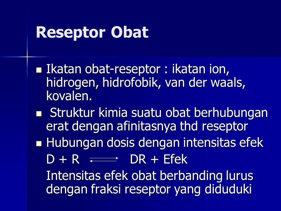 Reseptor Obat Ikatan obat-reseptor : ikatan ion, hidrogen, hidrofobik, van der waals, kovalen.