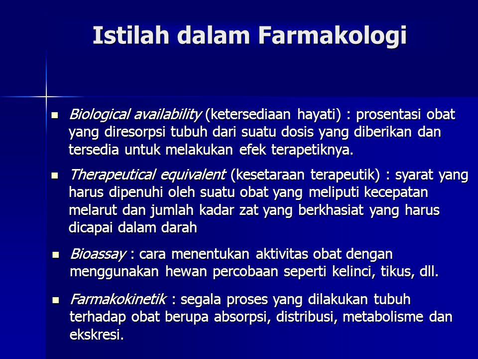 Biological availability (ketersediaan hayati) : prosentasi obat yang diresorpsi tubuh dari suatu dosis yang diberikan dan tersedia untuk melakukan efek terapetiknya.