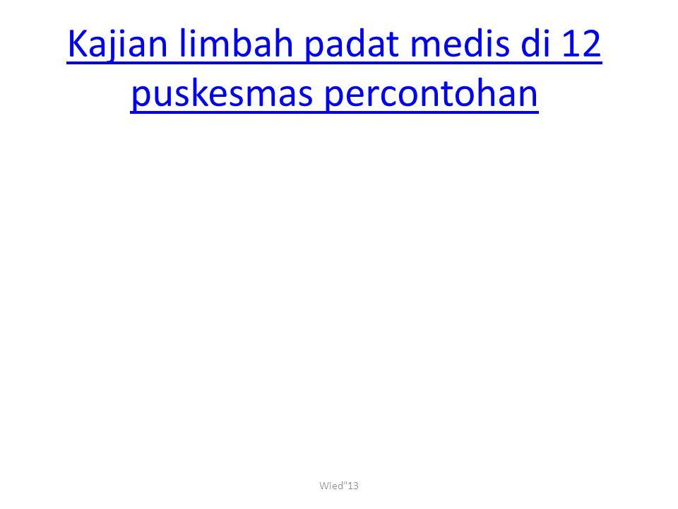 Kajian limbah padat medis di 12 puskesmas percontohan Wied 13