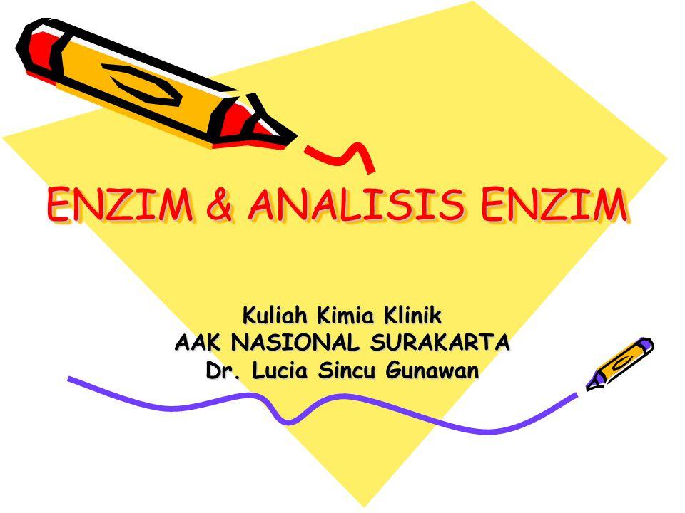 ENZIM & ANALISIS ENZIM Kuliah Kimia Klinik AAK NASIONAL SURAKARTA Dr. Lucia Sincu Gunawan