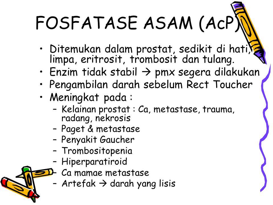 FOSFATASE ASAM (AcP) Ditemukan dalam prostat, sedikit di hati, limpa, eritrosit, trombosit dan tulang. Enzim tidak stabil  pmx segera dilakukan Penga