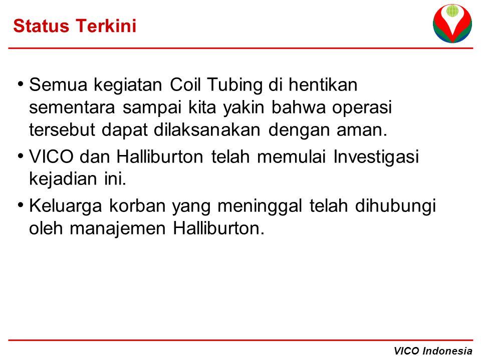 VICO Indonesia Status Terkini Semua kegiatan Coil Tubing di hentikan sementara sampai kita yakin bahwa operasi tersebut dapat dilaksanakan dengan aman