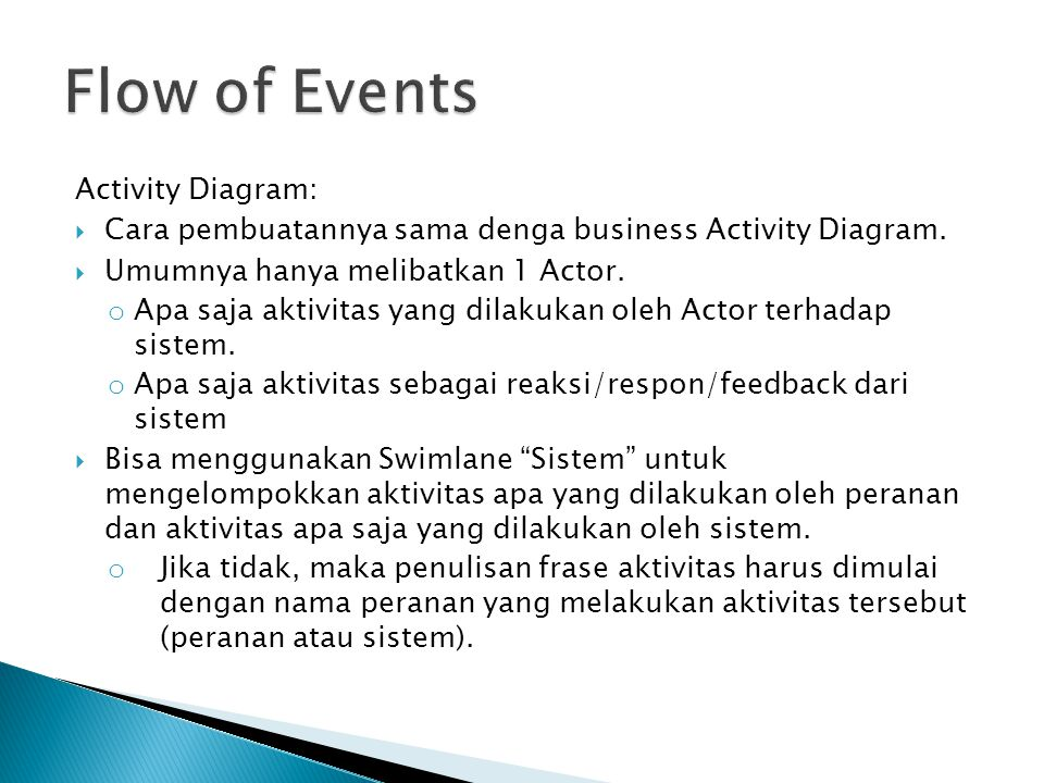 Activity Diagram:  Cara pembuatannya sama denga business Activity Diagram.