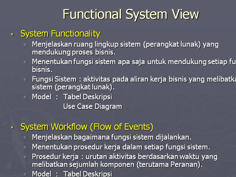  System Functionality System Functionality  System Workflow (Flow of Events) System Workflow (Flow of Events)