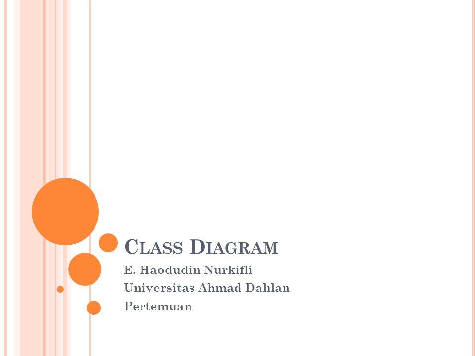 C LASS D IAGRAM E. Haodudin Nurkifli Universitas Ahmad Dahlan Pertemuan