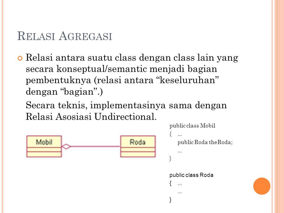 R ELASI A GREGASI Relasi antara suatu class dengan class lain yang secara konseptual/semantic menjadi bagian pembentuknya (relasi antara keseluruhan dengan bagian .) Secara teknis, implementasinya sama dengan Relasi Asosiasi Undirectional.