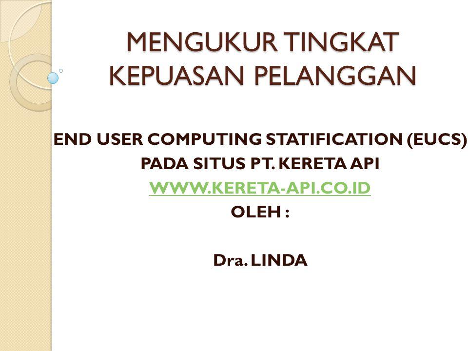 MENGUKUR TINGKAT KEPUASAN PELANGGAN END USER COMPUTING STATIFICATION (EUCS) PADA SITUS PT. KERETA API WWW.KERETA-API.CO.ID OLEH : Dra. LINDA