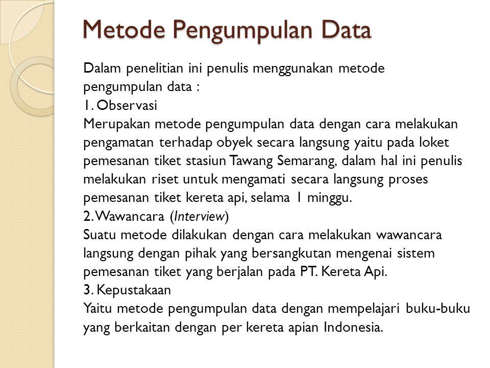 Metode Pengumpulan Data Dalam penelitian ini penulis menggunakan metode pengumpulan data : 1. Observasi Merupakan metode pengumpulan data dengan cara