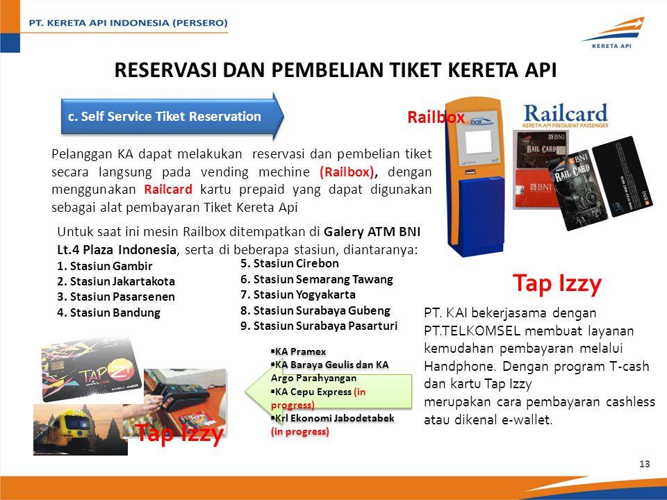 c. Self Service Tiket Reservation Pelanggan KA dapat melakukan reservasi dan pembelian tiket secara langsung pada vending mechine (Railbox), dengan me