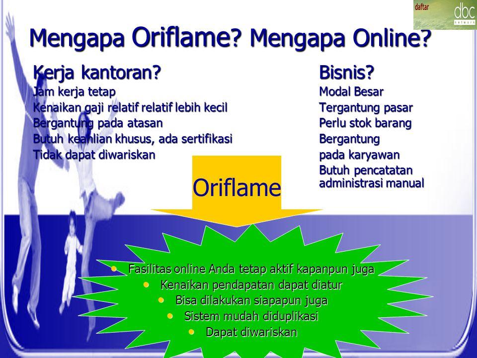 Mengapa Oriflame ? Mengapa Online? Kerja kantoran?Bisnis? Jam kerja tetapModal Besar Kenaikan gaji relatif relatif lebih kecilTergantung pasar Bergant