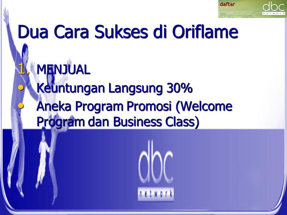 Dua Cara Sukses di Oriflame 1. MENJUAL Keuntungan Langsung 30% Keuntungan Langsung 30% Aneka Program Promosi (Welcome Program dan Business Class) Anek