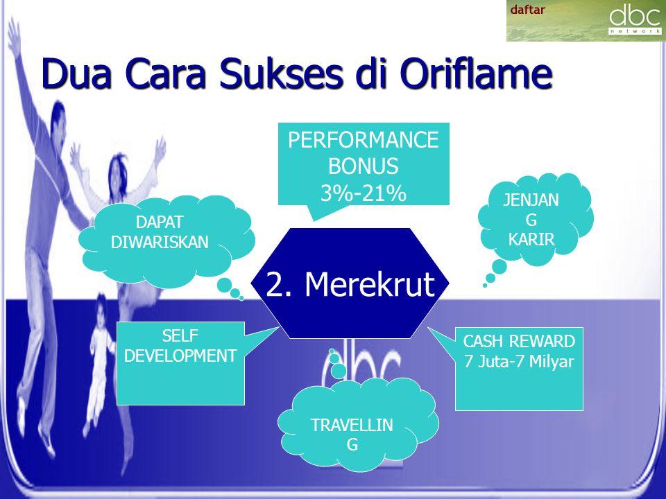 Dua Cara Sukses di Oriflame 2. Merekrut PERFORMANCE BONUS 3%-21% CASH REWARD 7 Juta-7 Milyar SELF DEVELOPMENT JENJAN G KARIR TRAVELLIN G DAPAT DIWARIS